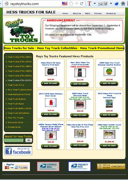 hess trucks websites